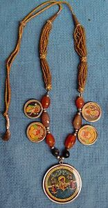 UNIQUE VINTAGE STYLE BEADS AND PENDANT NECKLACE RARE PEICE VERY FINE INDIAN ART