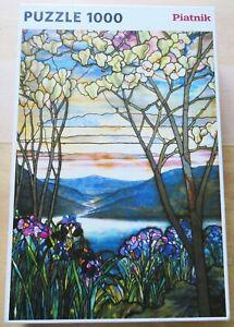 BEAUTIFUL TIFFANY WINDOW JIGSAW MAGNOLIAS & IRISES by Piatnik, 1000 pieces