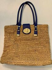 Emma Fox Straw Tote Bag, Blue Leather Handles, Gold Hardware - great condition