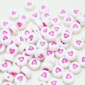100 x 7mm White Pink Love Heart Letter Round Bead Jewellery Dummy Clip Making