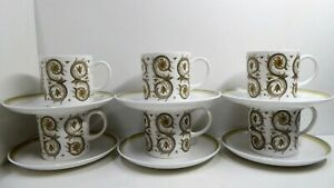 SET OF SIX SUSIE COOPER WEDGWOOD VENETIA DEMI- TASSE COFFEE CUPS CANS & SAUCERS