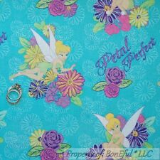 BonEful FABRIC FQ Cotton Quilt Aqua TINKERBELL Disney Flower Fairy Princess Girl