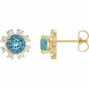Blue Zircon & 1/4 CTW Diamond Earrings In 14K Yellow Gold