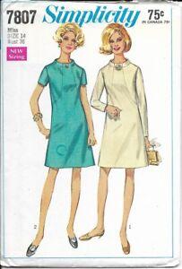 SIMPLICITY VINTAGE 1968 PATTERN 7807 SIZE 14 MISSES' DRESS 2 VARIATIONS