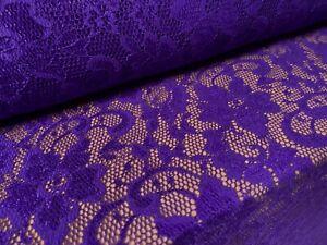 Stretch Lace Dress Fabric, Per Metre - Flower Design - Purple