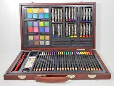 Art Kit Sketch Drawing Set Color Pencils Oil Pastels Watercolor Cakes Wooden Box