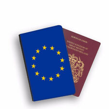 EU Flag Design Printed PU Leather Passport Case Cover Holder - 0209