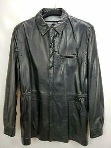 Vintage Remy Mens Lambskin Leather Jacket Coat Size 44 L Black Full Zip Blazer