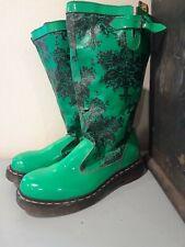 Doc Dr. Martens Nellie Pull On 7 US Green Black Design Rain Boots AirWair