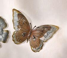 Großer Metall Schmetterling Silberschein, Rostoptik, Wandhänger, 47 cm, 3D Optik