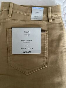 M&S Mens Moleskin Jeans Style Trousers - Brand New With Tags