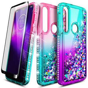 For Motorola Moto G8 Plus Case Liquid Glitter Bling Phone Cover + Tempered Glass