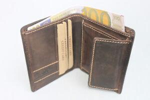 Geldbörse Naturleder Minibörse Bifold Kartenbörse Rindleder Ausleseschutz RFID