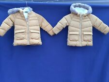 Twin Girls coats  jacket age 18 months - 2 years mustard winter hooded