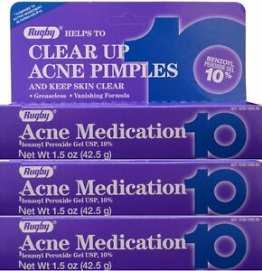 Rugby Acne Gel 10% -1.5oz Tube -3 Pack