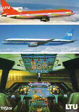 AIRLINE ISSUE POSTCARD - LOCKHEED TRISTAR D-AERP AND BOEING 757 D-ANUR OF LTU