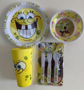 Spongebob Squarepants Melamine Plate Bowl  Beaker and Cutlery Bundle NEW