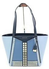 NWT MICHAEL Michael Kors Whitney Gold Studded Blue Leather Large Tote Bag $358