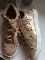 Rose Gold Blush Sparkle Stars Trainers Flat Casual Shoes Size UK6 Euro39