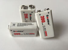 3 PILES ACCUS RECHARGEABLE 9V 280mAh Ni-Mh 9 Volt SOSHINE BATTERIES - PUISSANT