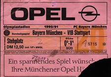 Ticket BL 90/91 FC Bayern München - VfB Stuttgart, Stehplatz