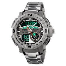 Analog-Digital Stainless Steel Mens Sport Quartz Waterproof LED Date Wrist Watch