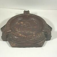 Vintage SYROCO Wood Clipper Ship Round Ashtray