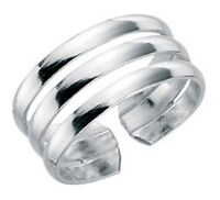 Elements 925 Polished Sterling Silver Ladies Fixed Open Band Trilogy Toe Ring
