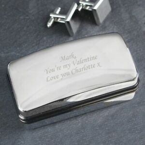 Personalised Silver Polished Cufflink Box - Engraved Free - Valentines, Birthday