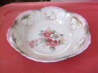 Vintage German Porcelain Serving Bowl Dish, Pearl Finish Lavender & Roses