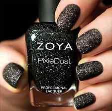 ZOYA PixieDust ZP656 DAHLIA black matte sparkle nail polish lacquer~PIXIE DUST