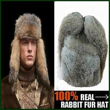 New Men's Warm 100% Real Rabbit Fur Hat/ Truck Driver Hat/ Russia Cavalry Hat