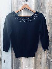 Vintage 80s Black Glam Heart Sweater Top Medium