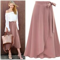 Plus Size Women A-line Flared Slit Maxi Solid Bow Knot High Waist Long Skirt Pop