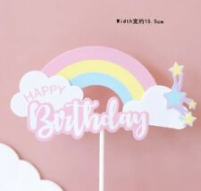 HAPPY BIRTHDAY CAKE PICK Pink Rainbow TOPPER DECORATION