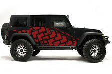 Vinyl Graphics Decal TIRE TRACKS Wrap Kit for Jeep Wrangler 4 Door 2007-2016 Red