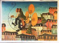 GIANNI VALLETTA serigrafia su tela Esploratori 70x100 firmata ritoccata a mano