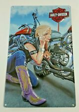 Harley Davidson Sign Motorcycle Tin Metal Biker Babes Cowgirl Boots Collectible