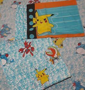 Rare 1998 Pokemon Nintendo Bedding Full Fitted Sheet Flat Sheet & Pillow Case