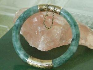 14K Yellow Gold Green Jade Split Bangle Bracelet.