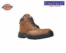 NEW MENS DICKIES NEWARK LEATHER SAFETY STEEL TOE CAP ANKLE WORK BOOTS SHOES HIKE
