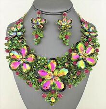 Large Green Pink Crystal Flower Rhinestone Bib Necklace Bridal Evening Gold Set
