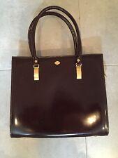 Women's I Santi Brown Leather Handbag Arm Bag Purse With Gold Hardware