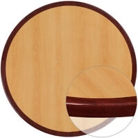 36'' Round 2-Tone High-Gloss Cherry / Mahogany Resin Table Top with 2'' Thick...