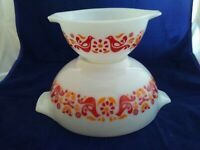 Lot of 2 Vintage Pyrex Friendship 441 443 Cinderella Mixing Nesting Bowls EUC