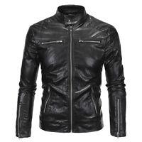 Mens PU Leather Coat Winter Bomber Biker Motorcycle Jacket Overcoat Outwear NEW