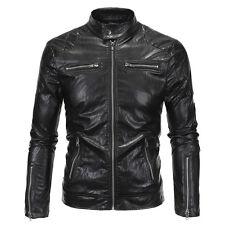 New Men's Slim Fit Zipper Designed PU Leather Jacket Coat Motor Biker Coat Tops