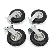"4 PCS 8"" Air Tire Pneumatic 2 Rigid Wheels & 2 Swivel Casters Cart Farm Caster"