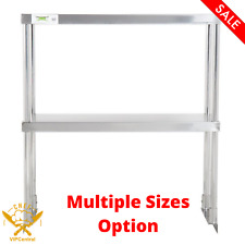 Stainless Steel Work Prep Table Commercial Double Deck Overshelf (Select Size)