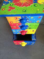 COLORATO DIPINTO A MANO petto in legno con 4 compartimenti per Trinkets Blu & GRN